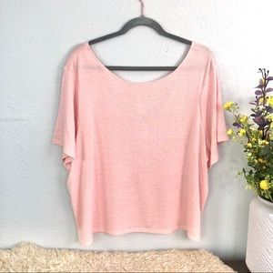 BP scoop neck semi sheer v back tee shirt blush